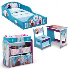 Disney Frozen II 4-Piece Room-in-a-Box Bedroom Set by Delta Children - Includes Sleep & Play Toddler Bed, 6 Bin Design & Store Toy Organizer and Desk with Chair - Code Interno: 133