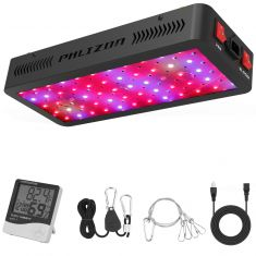Phlizon Newest 600W LED Plant Grow Light,with Thermometer Humidity Monitor,with Adjustable Rope,Full Spectrum Double Switch Plant Light for Indoor Plants Veg and Flower- 600W(10W LEDs 60Pcs) - Code Interno: 194