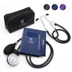 Clairre Professional Sphygmomanometer Manual Blood Pressure Cuff and Stethoscope Kit for Nurses/Doctors/Nursing Students, Carrying Case Included, Universal Cuff Size: 9-16 inch (Navy Blue) - Code Interno: 652