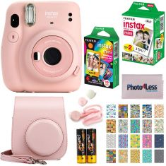 Fujifilm Instax Mini 11 Instant Camera + Fujifilm Instax Mini Twin Pack Instant Film (16437396) + Single Pack Rainbow Film + Case + Travel Stickers (Blush Pink) - Code Interno: 519