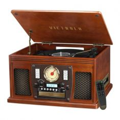 Victrola Wood 8-in-1 Nostalgic Bluetooth Record Player with USB Encoding and 3-speed Turntable - Mahogany Wood - Code Interno: 726