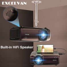 1080P LCD Projector 200Inch Home Theater Built-in HiFi Speaker HDMI/VGA/AV/USB Multimedia 5000lumens - Code Interno: 953